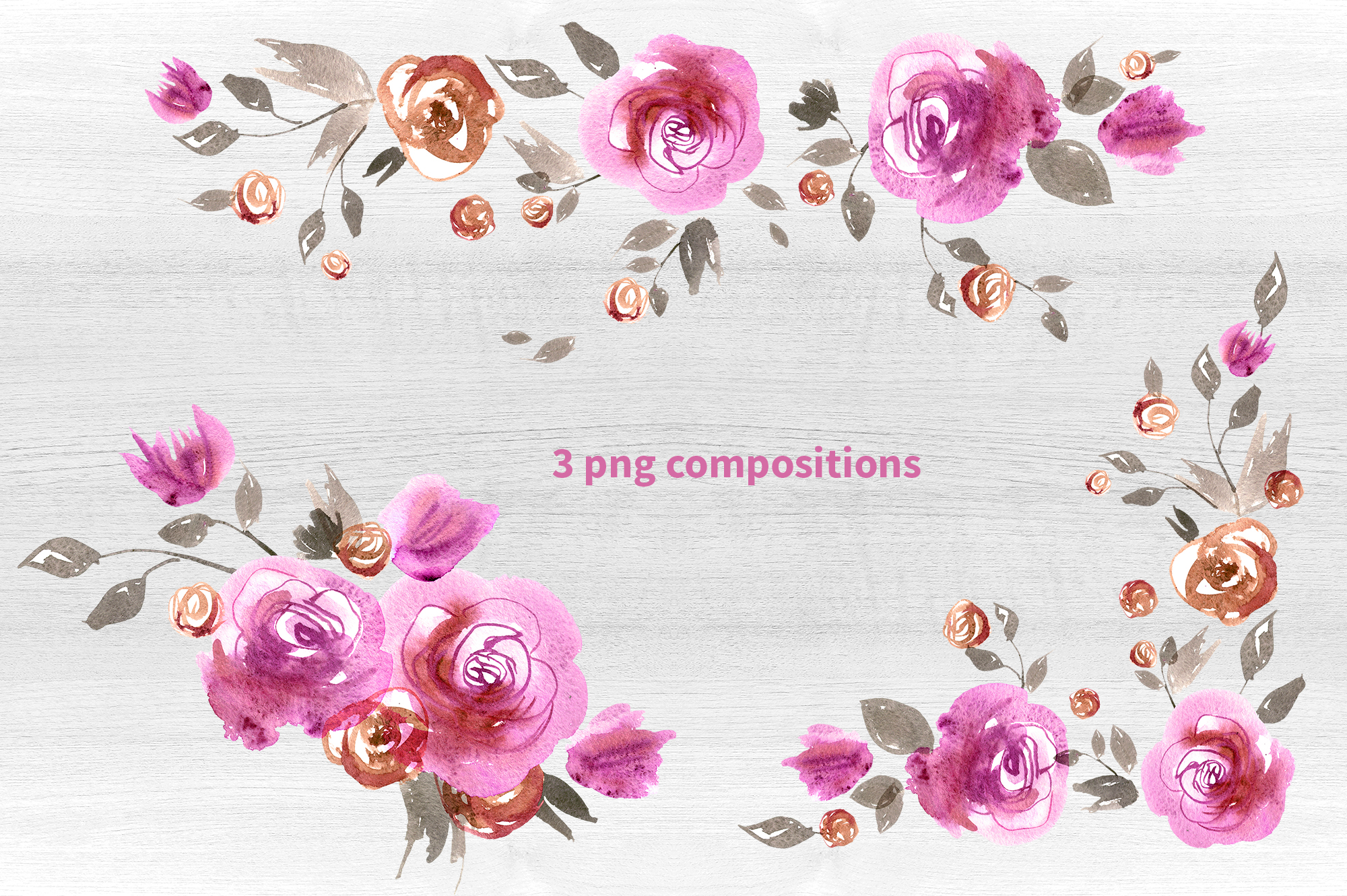 Watercolor pink roses example image 4