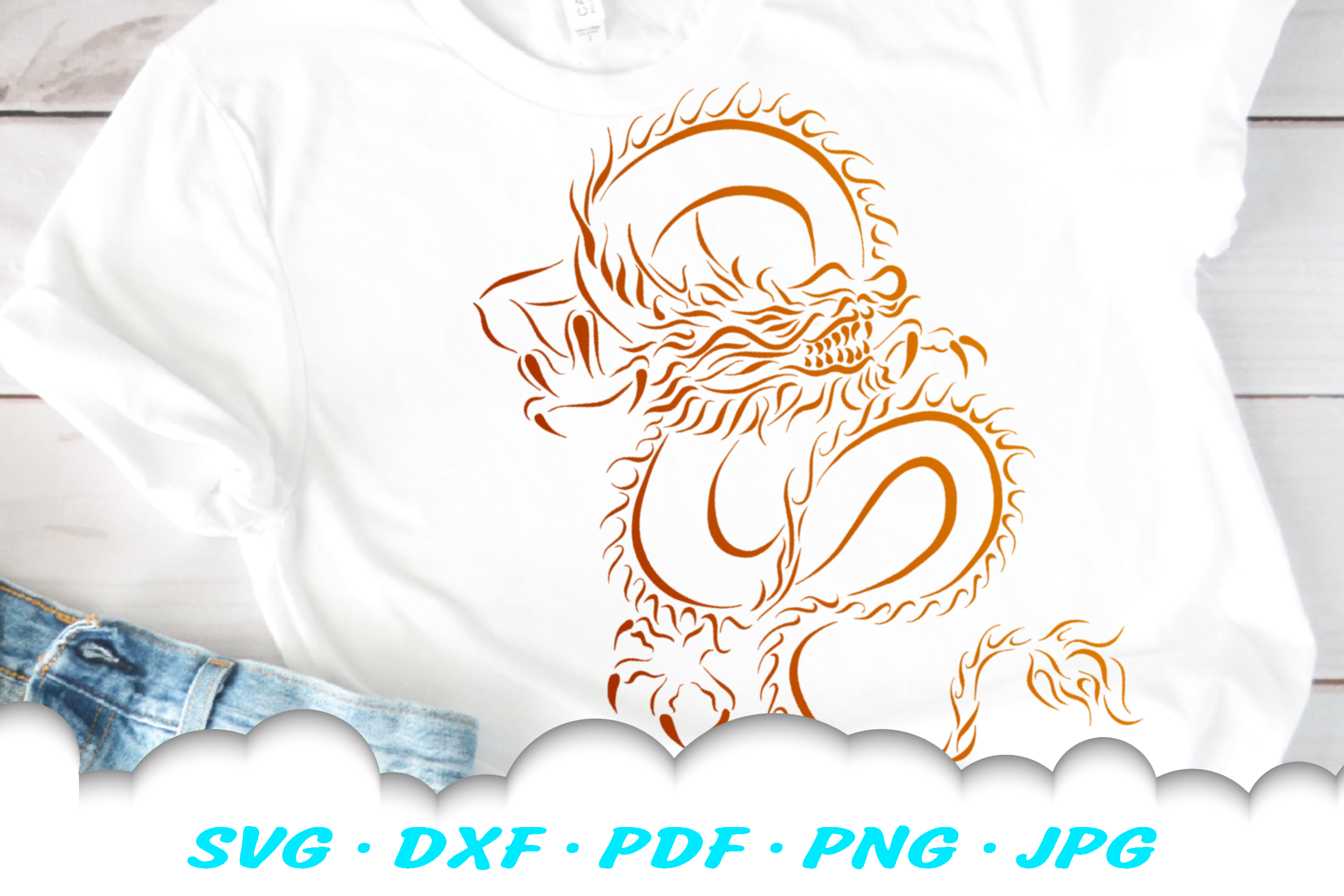 Chinese Dragon Tribal Design SVG DXF Cut Files example image 1