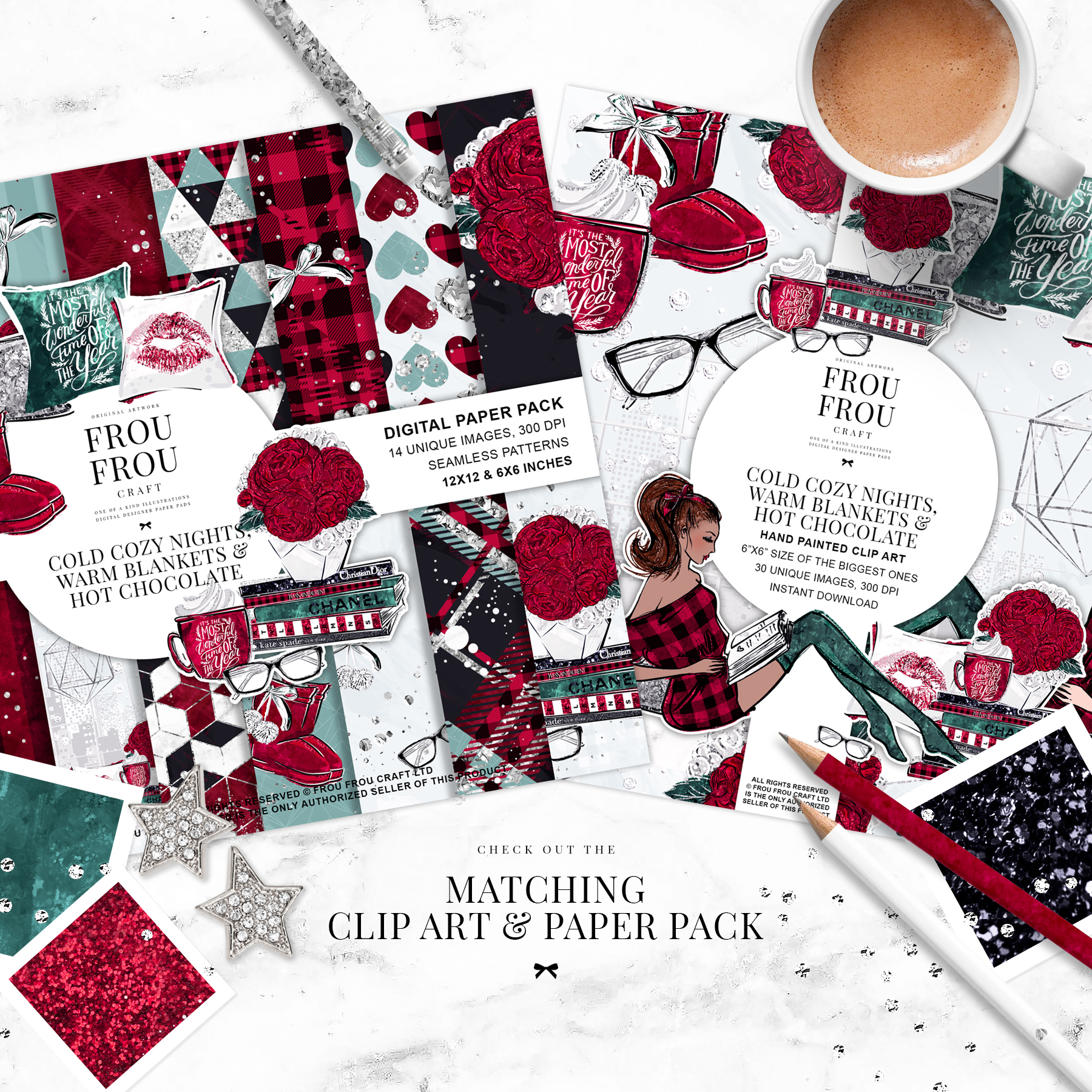 Cozy Winter Holiday Girl Reading Books Paper Pack example image 2