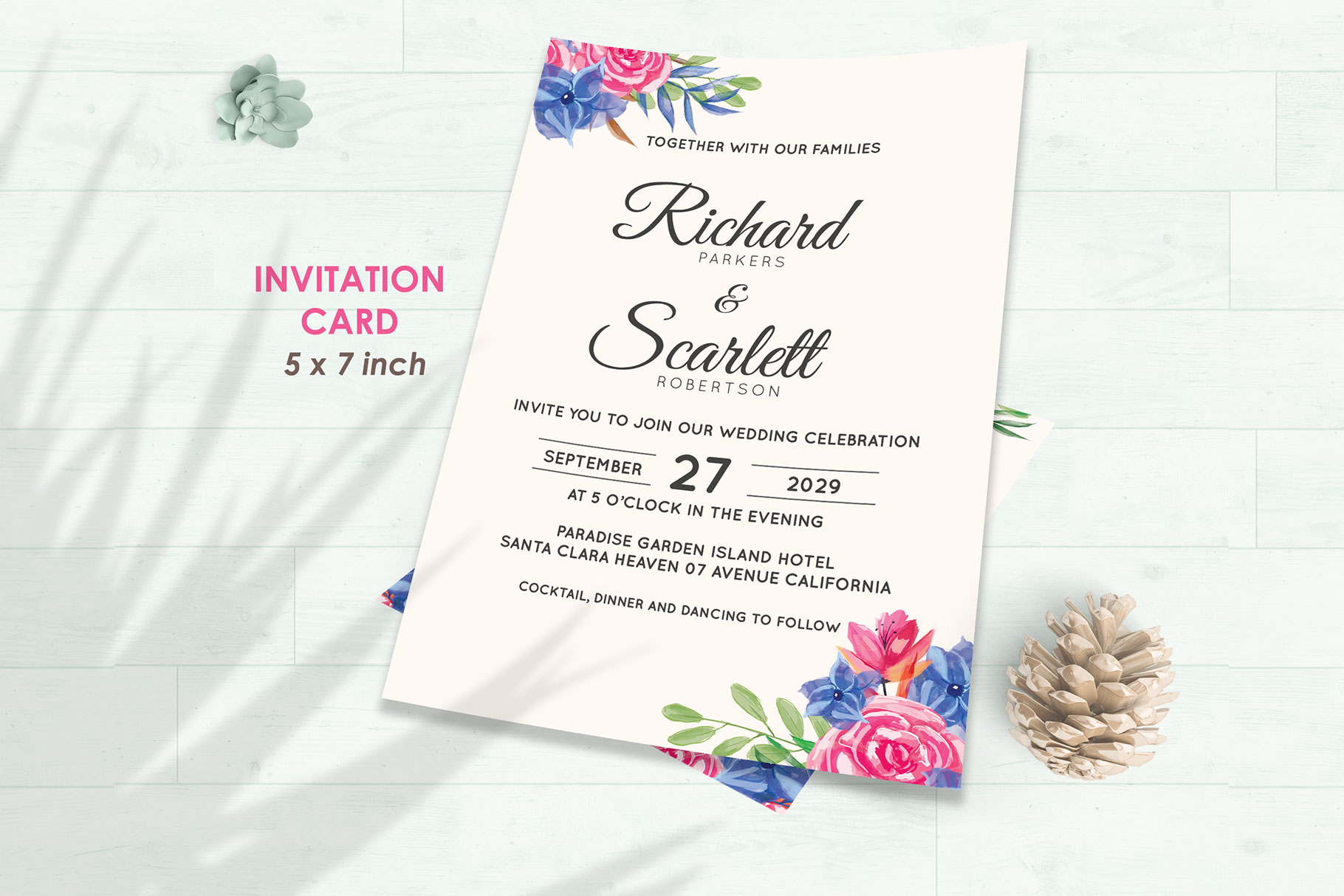Wedding Invitation Set #8 Watercolor Floral Flower Style example image 2