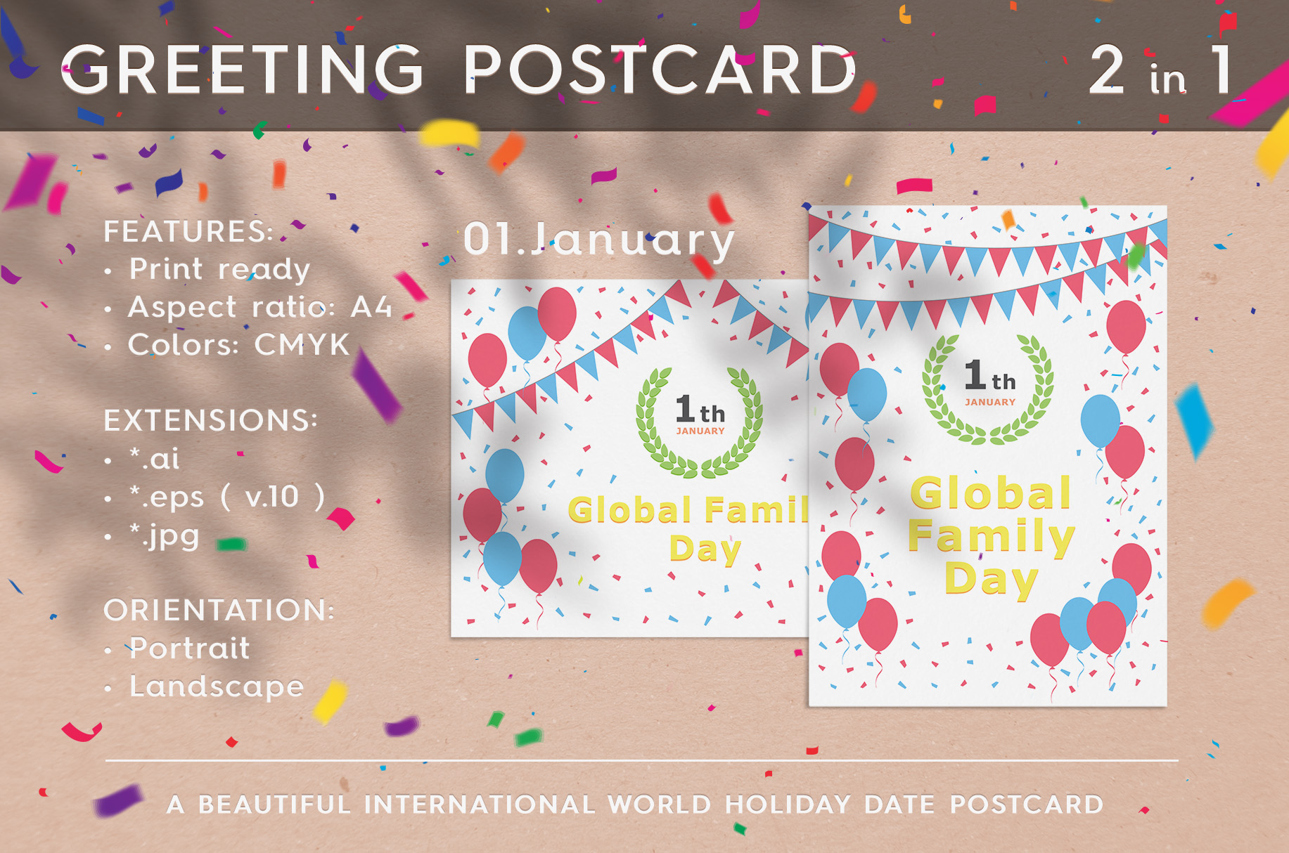 January 01 - Global Family Day. Greeting Card. example image 1