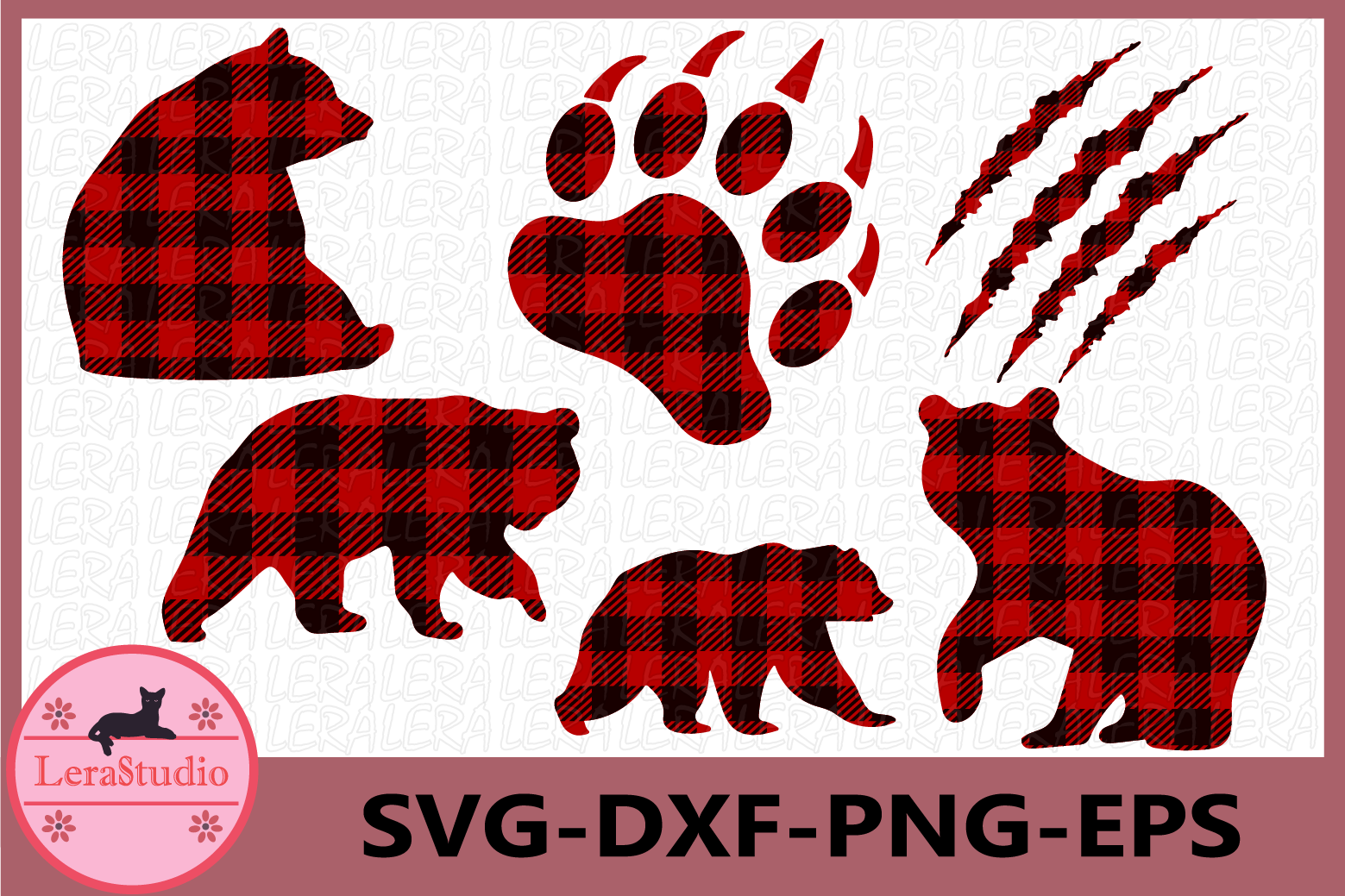 Bear Buffalo Plaid Svg, Bear Paw Cut Files, Bear svg example image 1