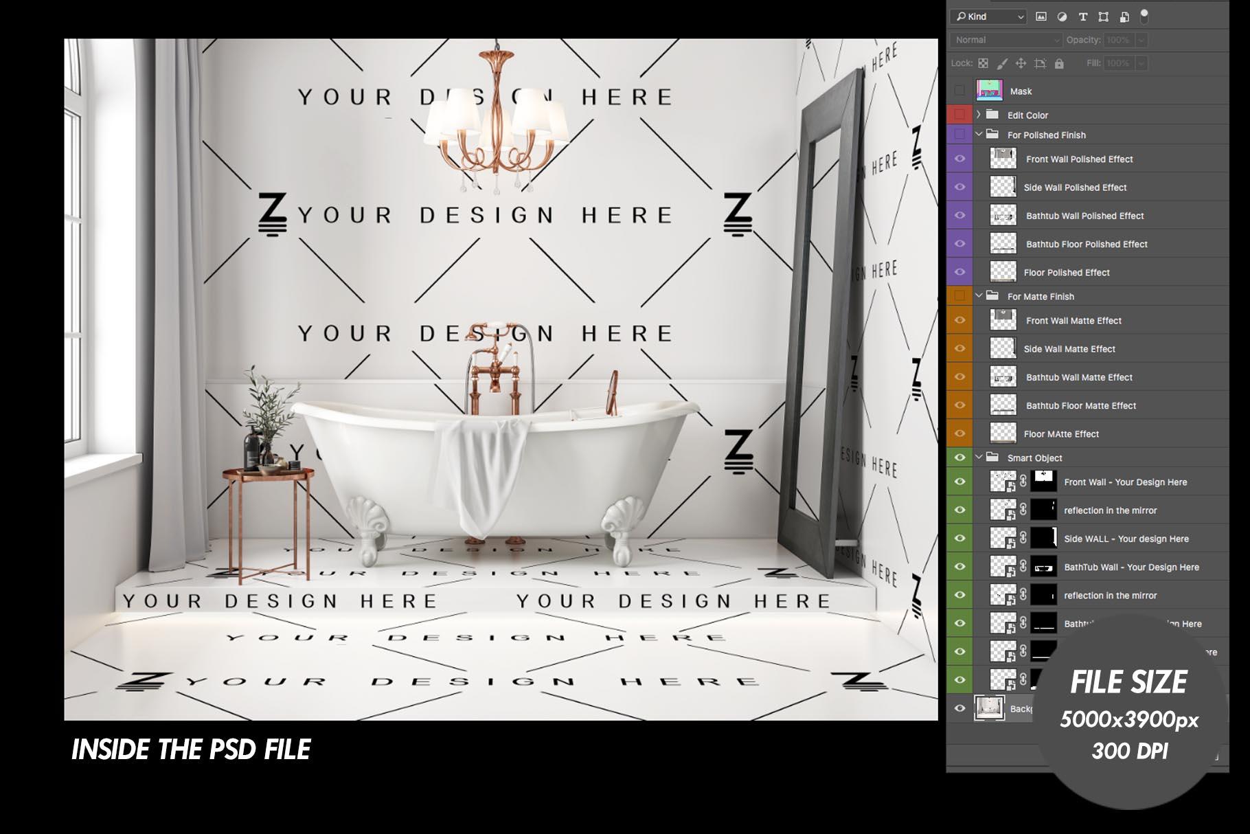 Floor and Wall PSD Mockup Bathroom Scene SM104 example image 5