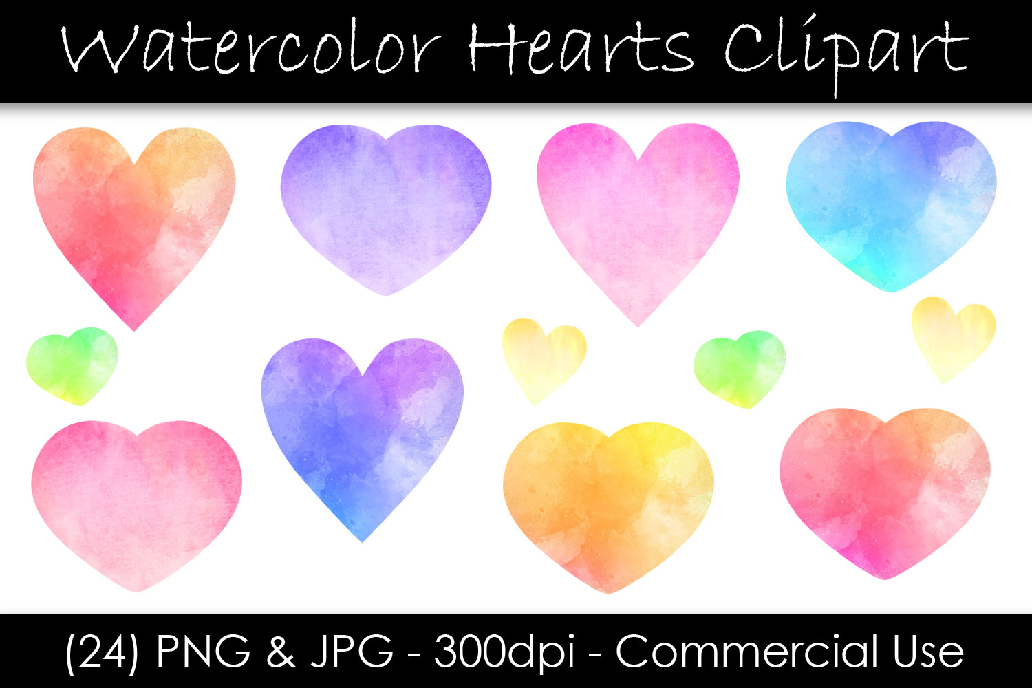 Watercolor Heart Clip Art - Valentine's Day Hearts example image 1