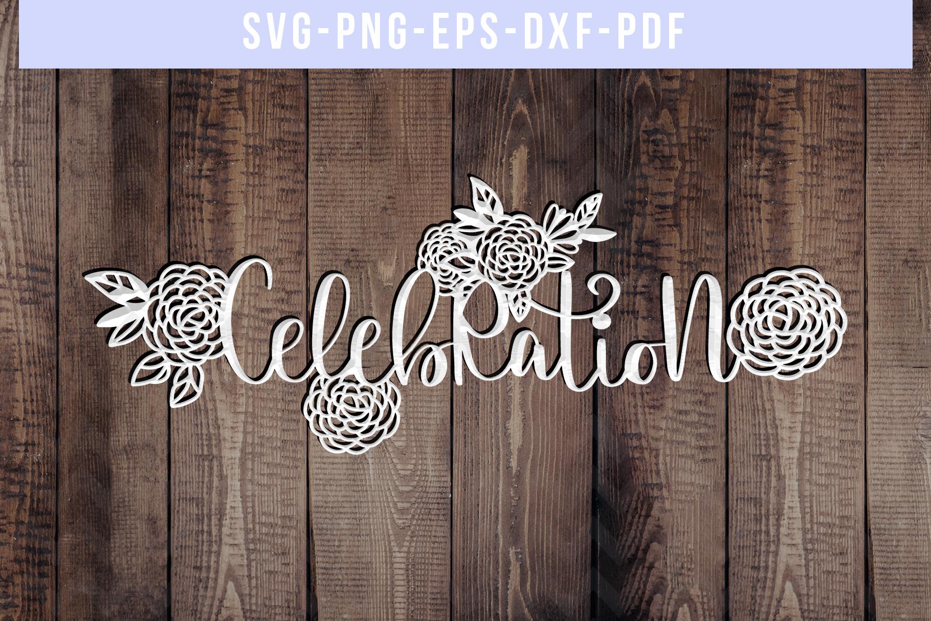 Celebration Papercut Template, Wedding Invitation SVG, PDF example image 3