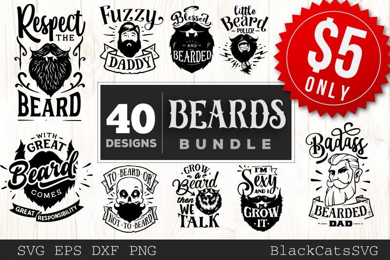 Beards SVG bundle 40 designs example image 1