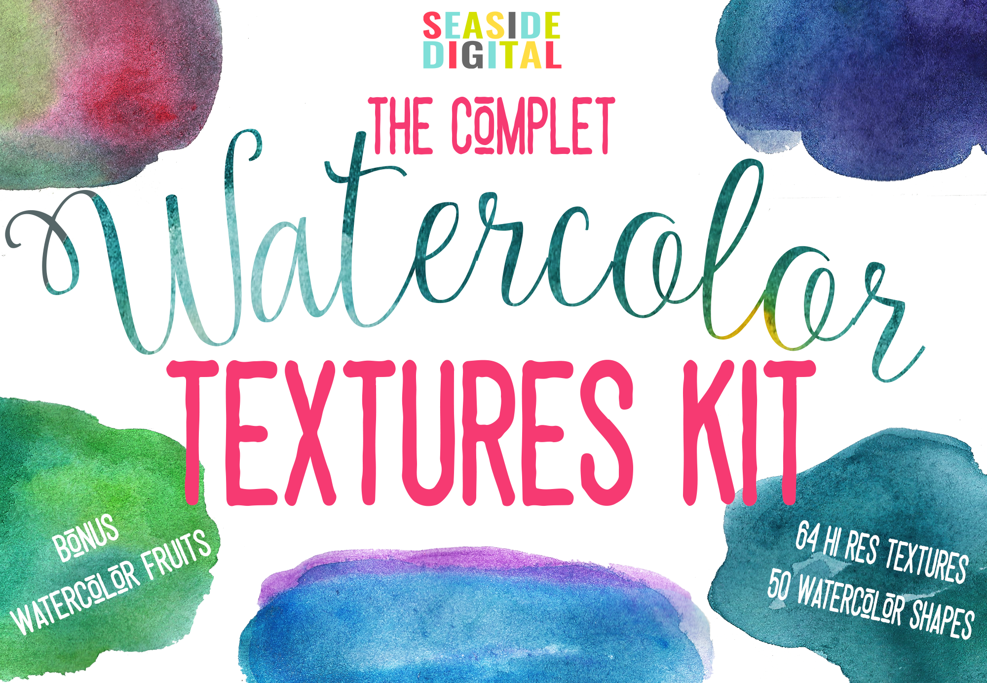 Complet Watercolor Textures Kit example image 2