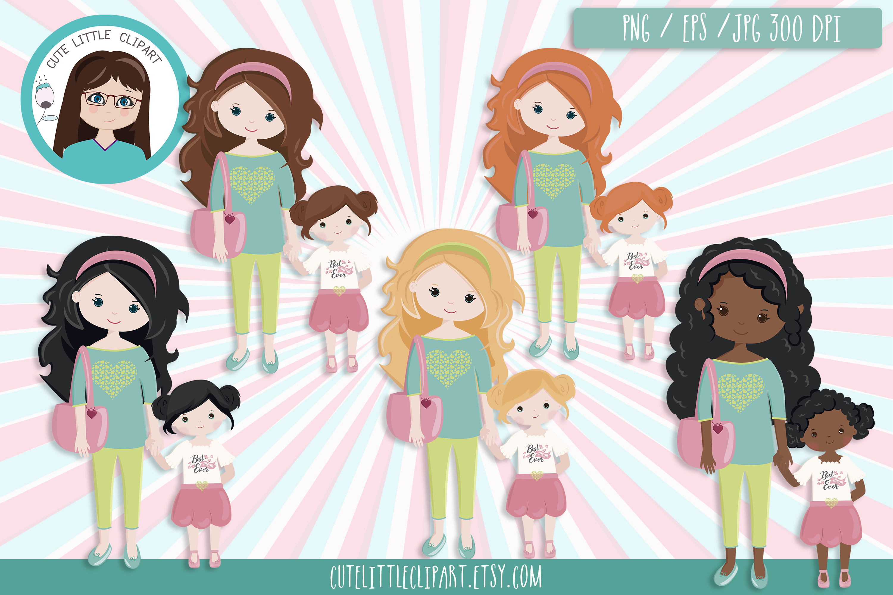 Mom and daughter clipart example image 1