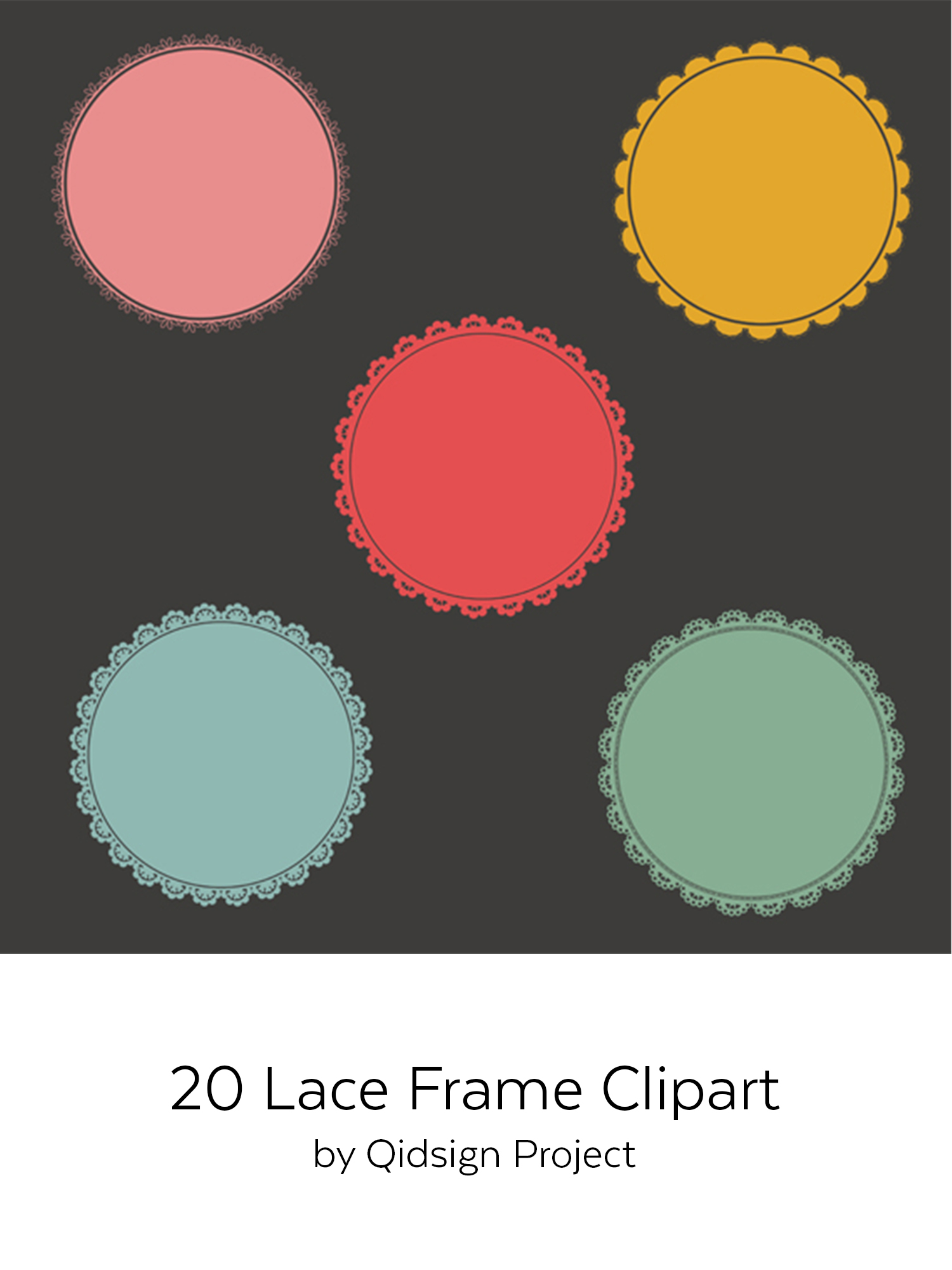 20 circle lace clipart | PNG | JPG example image 2