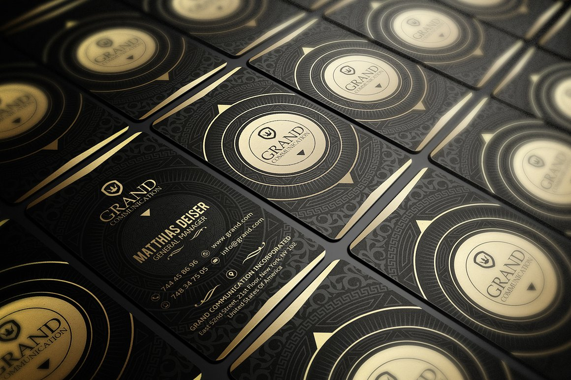 6 Gold And Black Business Cards Bundle example image 2