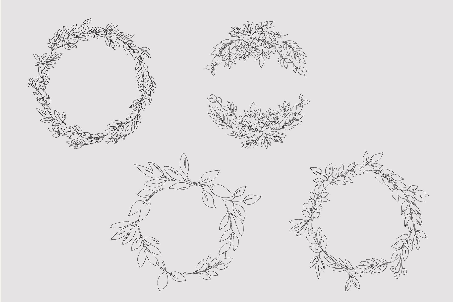 Foliage doodles clip art set, hand drawn foliage, hand drawn example image 5