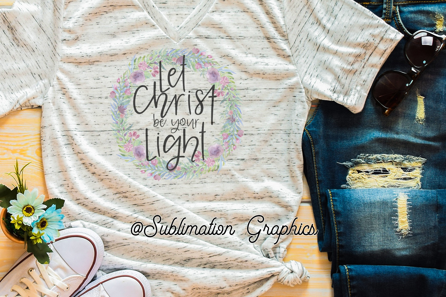 Let Christ Be Your Light Sublimation Digital Download example image 1