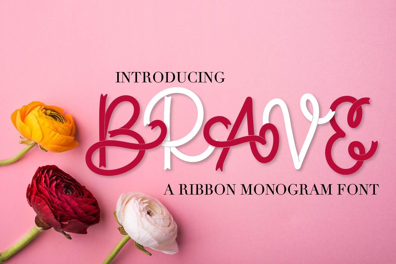Brave - A Ribbon Monogram Font example image 1