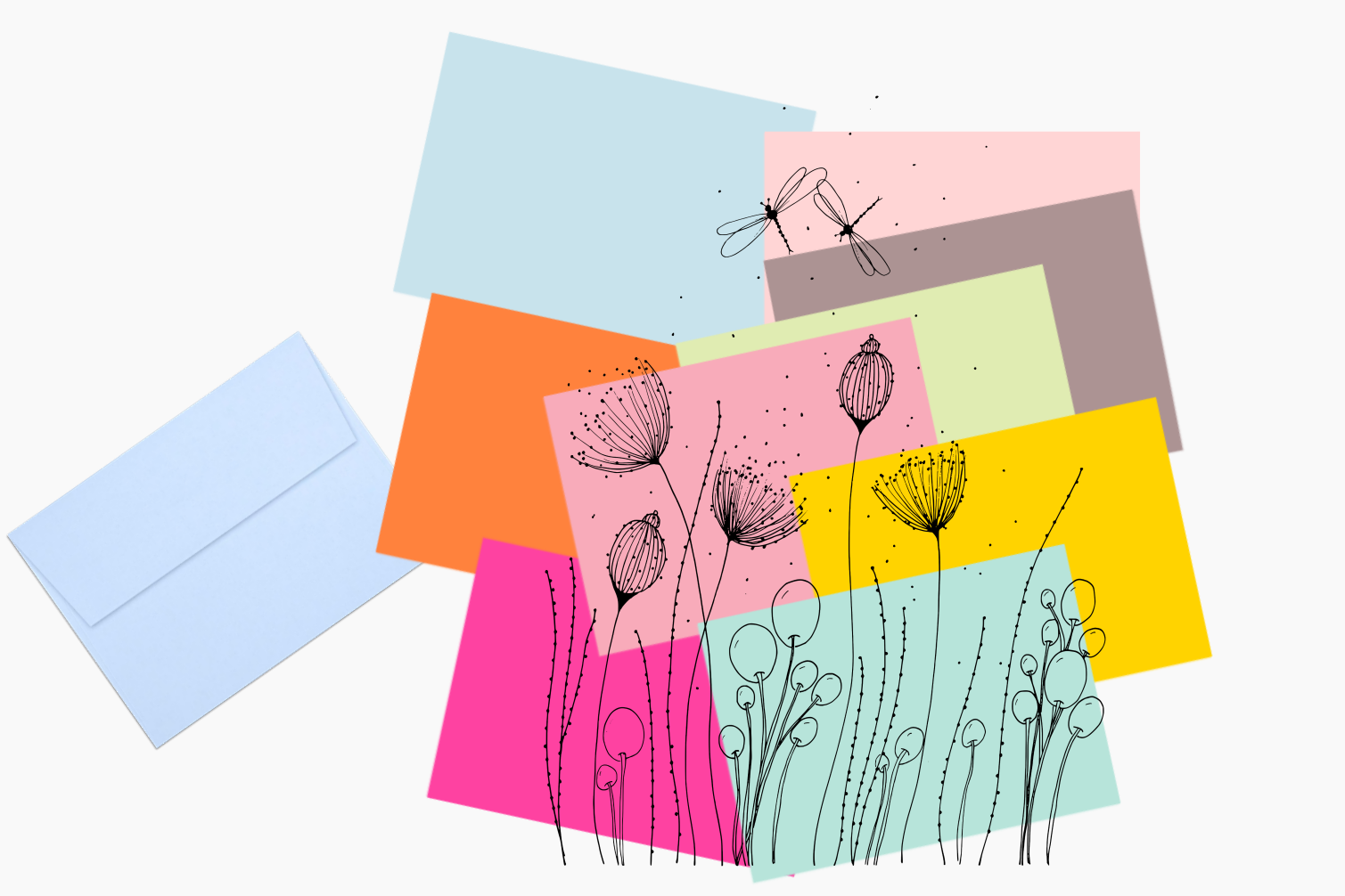 Flowers with Lines and Dots, A1, SVG example image 5