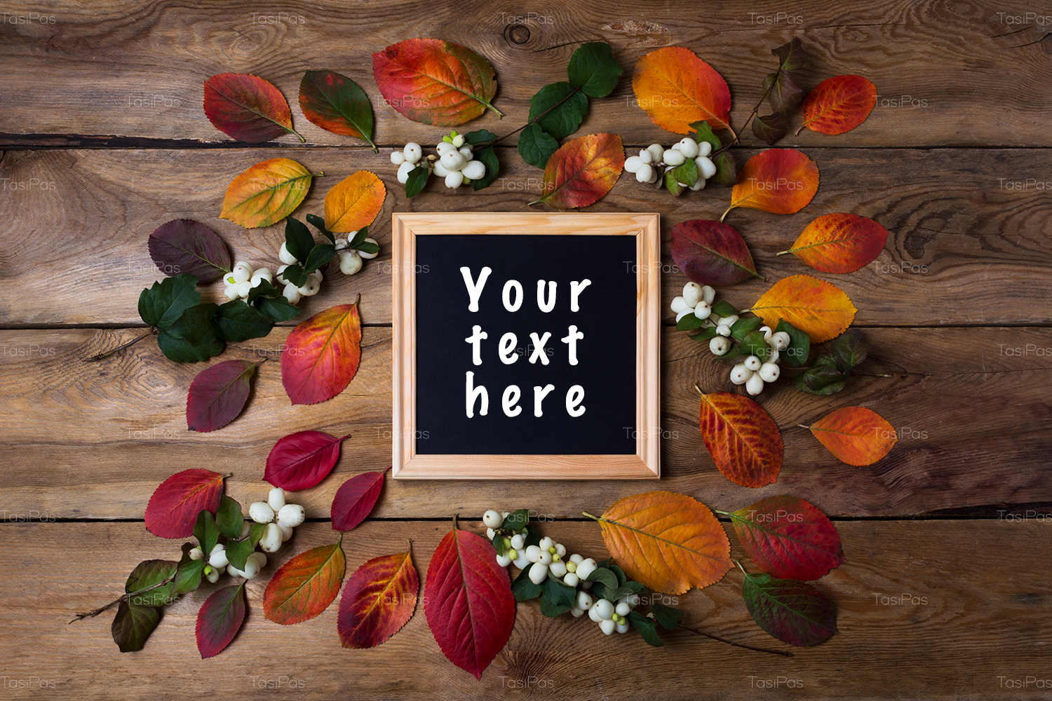 Wooden square picture frame mockup with fall leaves example image 3