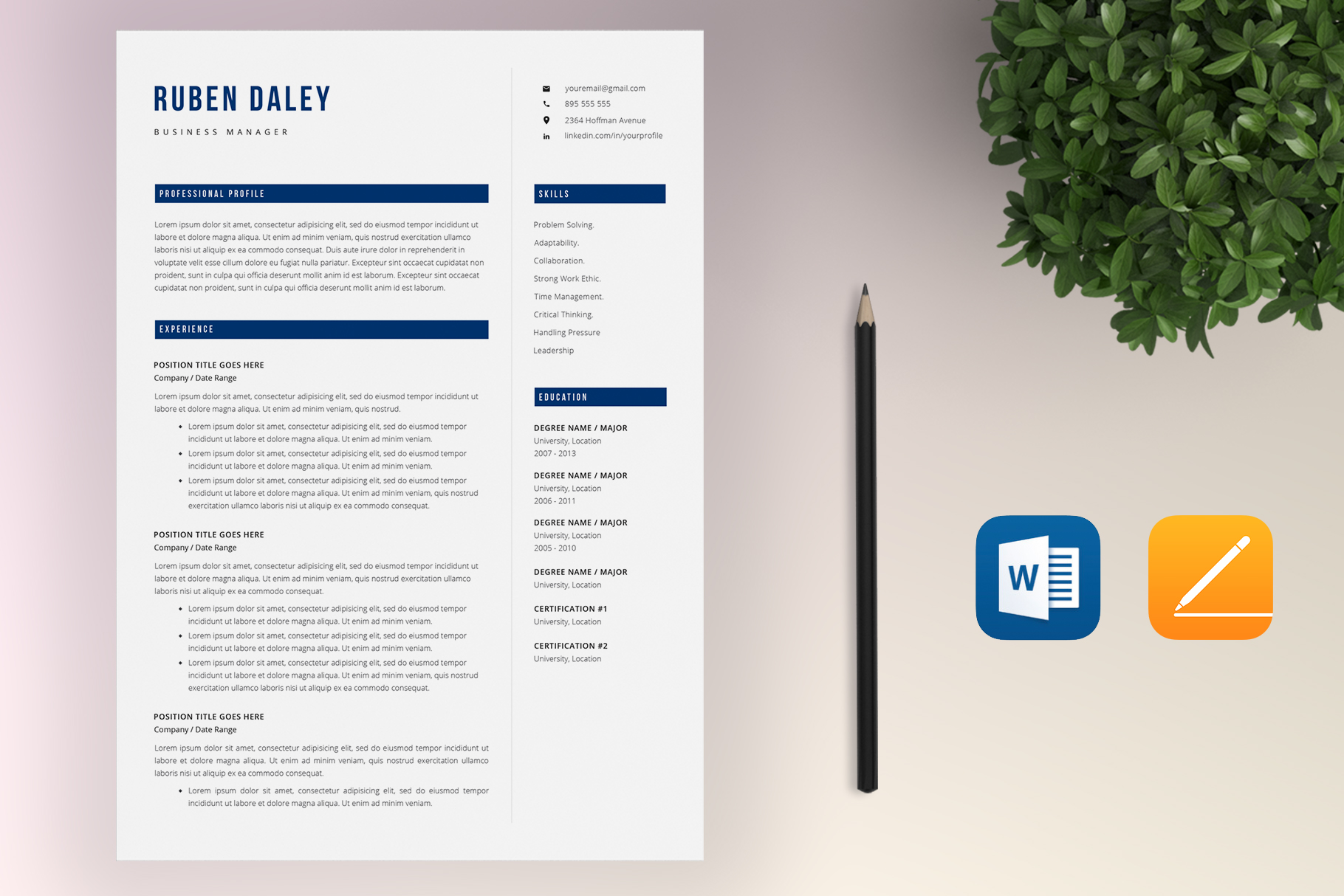 Resume Template Bundle | 4 Pages and Cover Letter example image 7