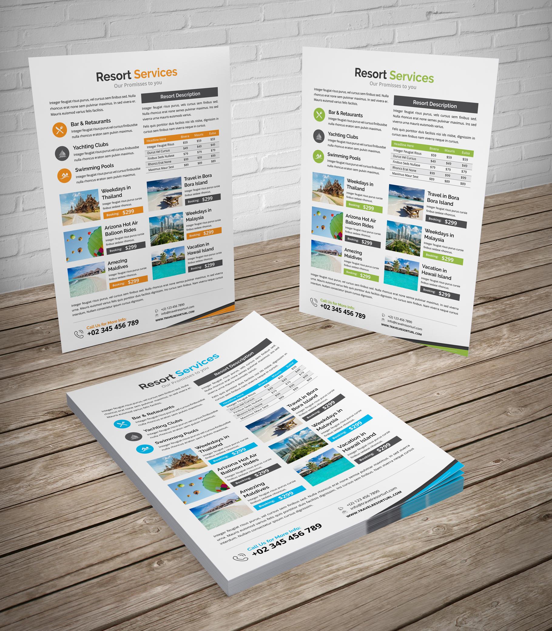 Travel Resort Flyer Design v2 example image 3
