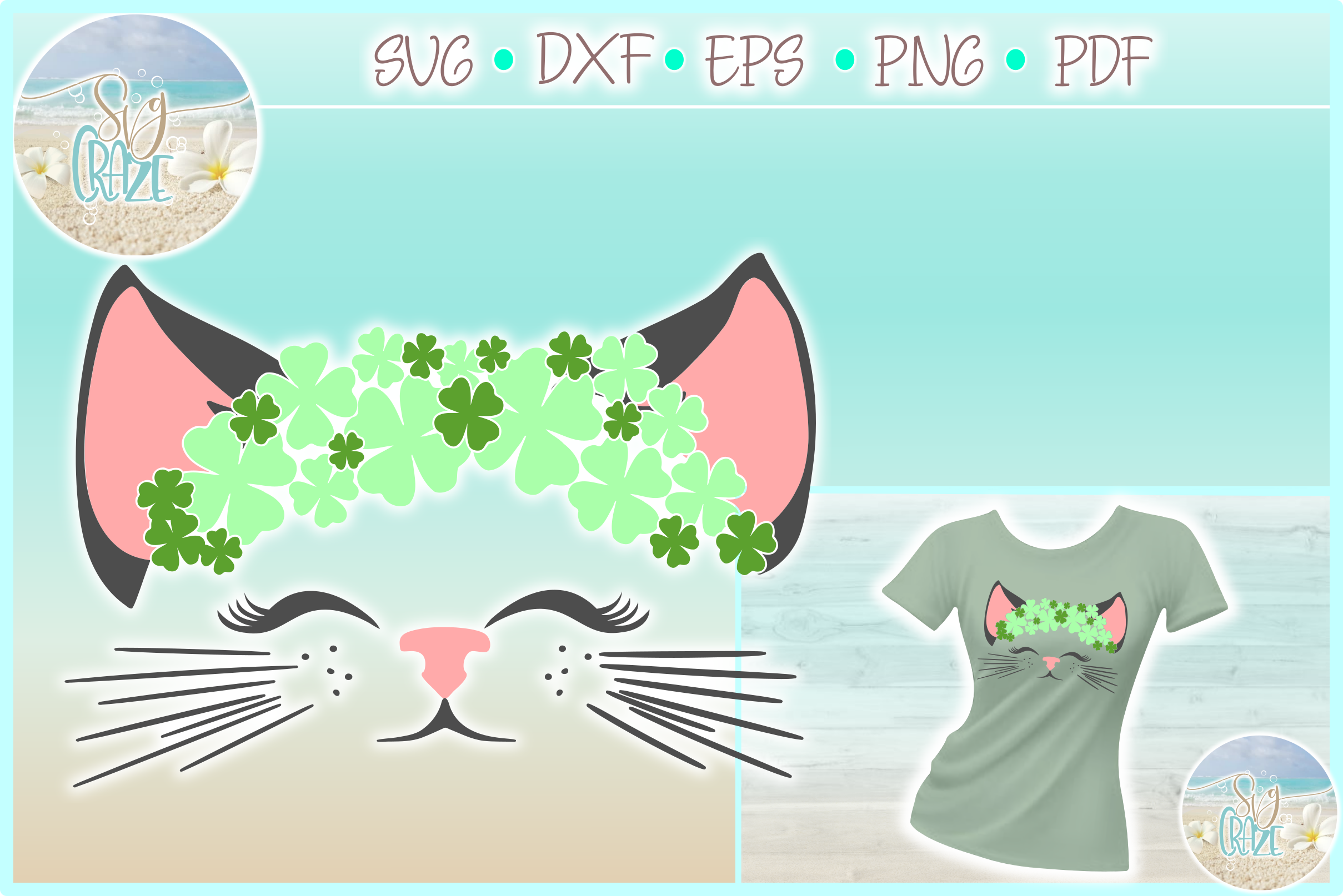 Cat Face With Clovers SVG Dxf Eps Png PDF example image 1