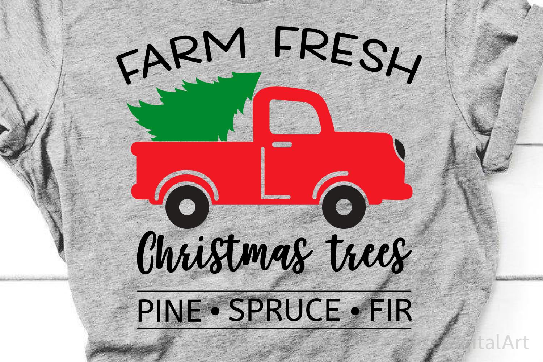 Farm Fresh Christmas Trees Svg, Christmas Svg, Red Truck Svg example image 2