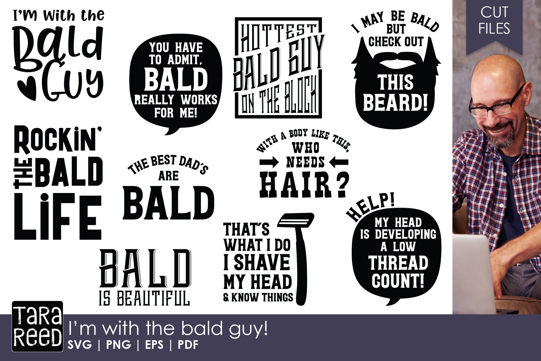 I'm with the Bald Guy - Bald SVG and Cut Files for Crafters example image 1