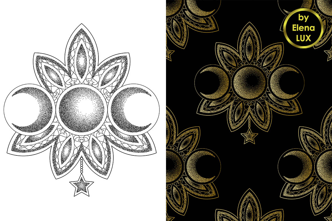Triple Moon Dotwork Tattoo and Seamless Patterns example image 1
