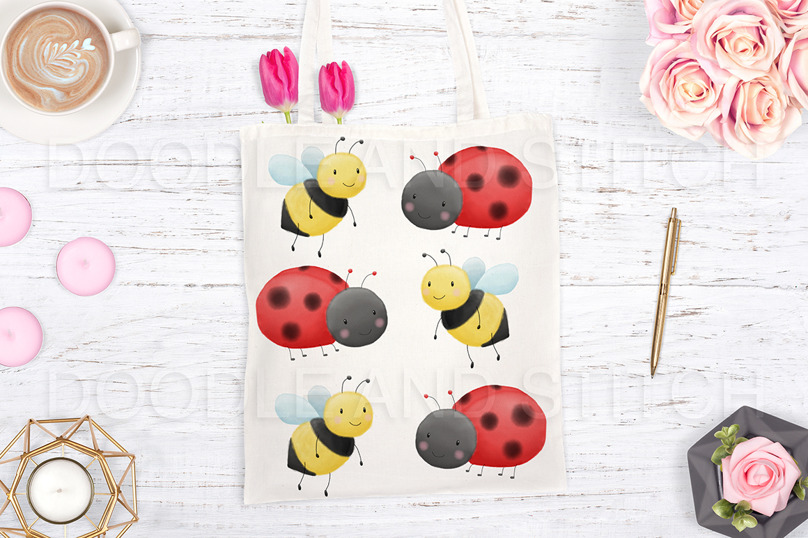 Cute Bugs Watercolor Illustrations example image 3