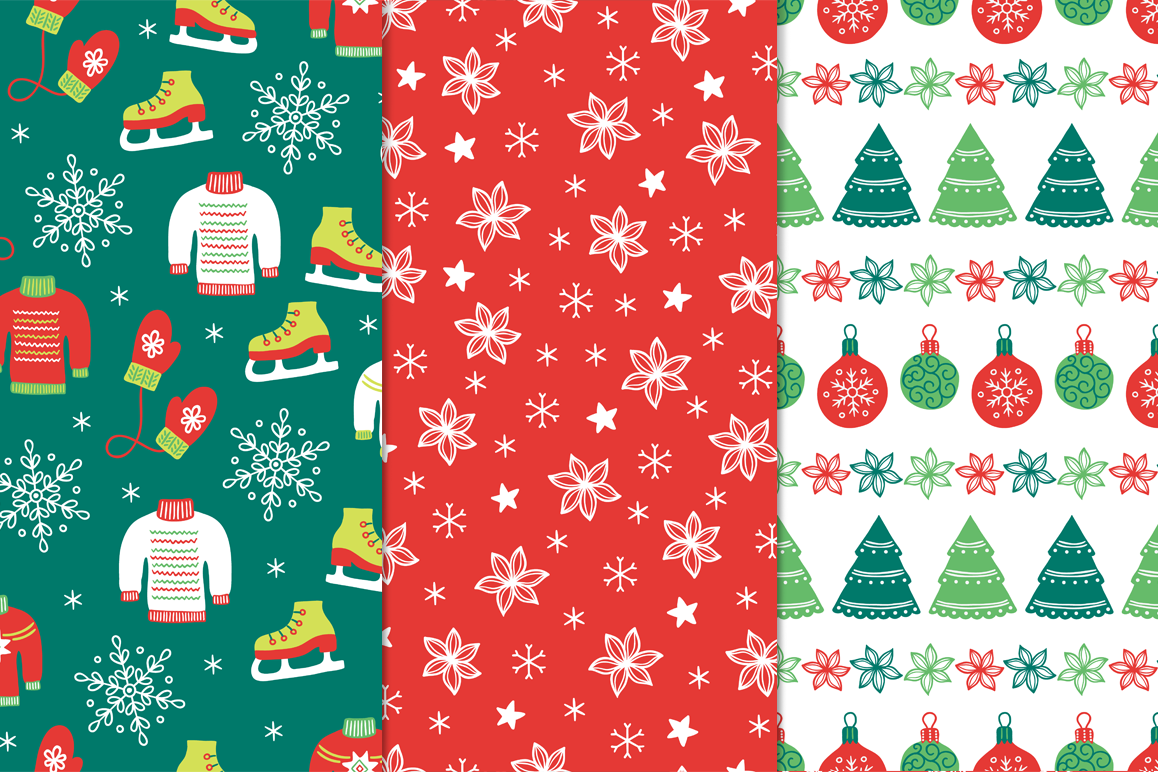 12 Christmas Seamless Patterns example image 2