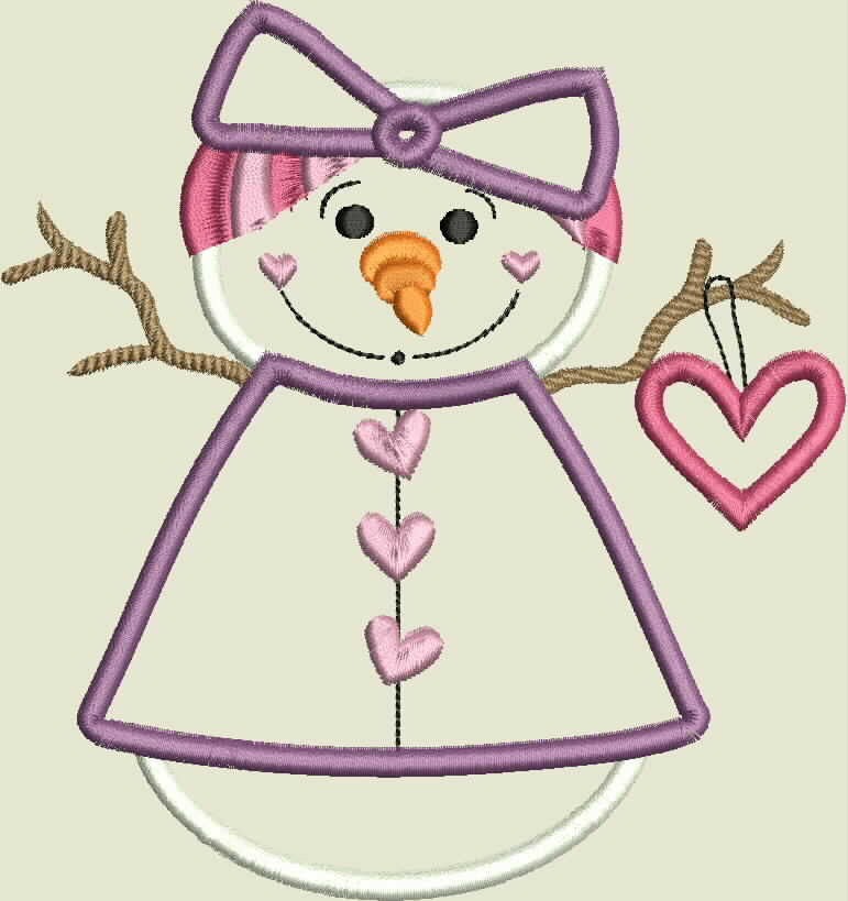 Snow Lady Holding Heart Machine Applique Embroidery Design example image 2