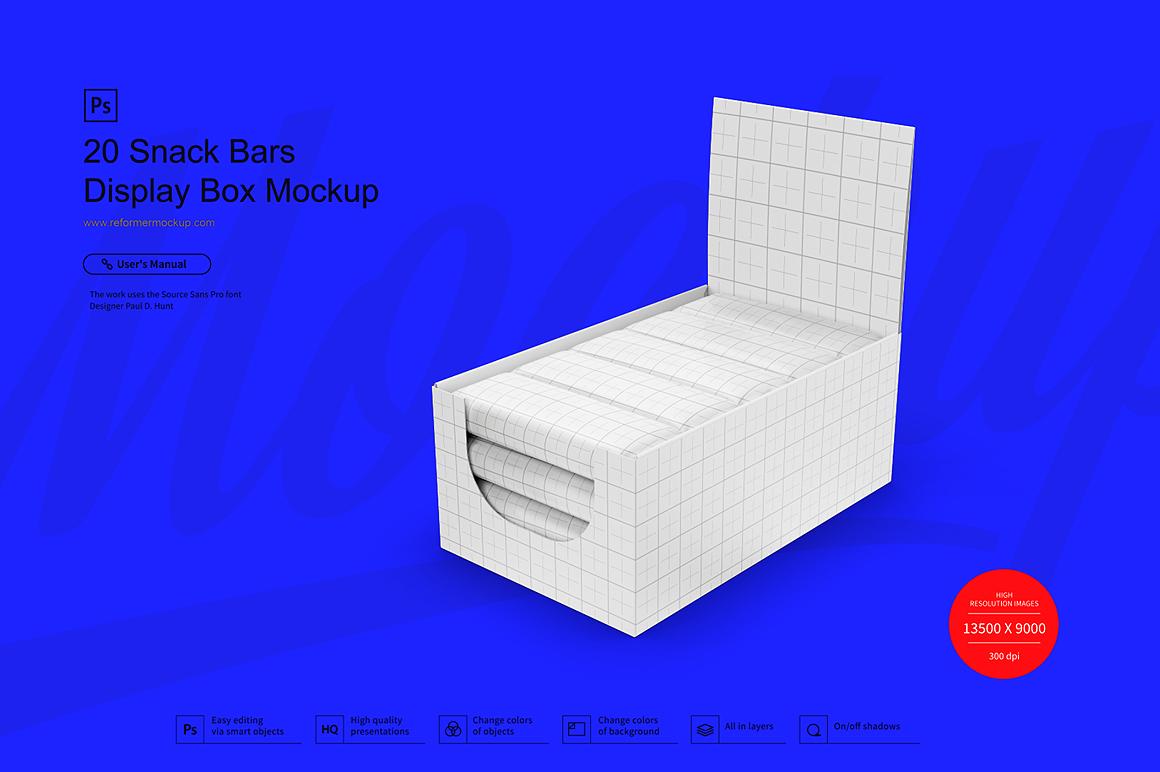 20 Kraft Snack Bars Display Box Mockup example image 2