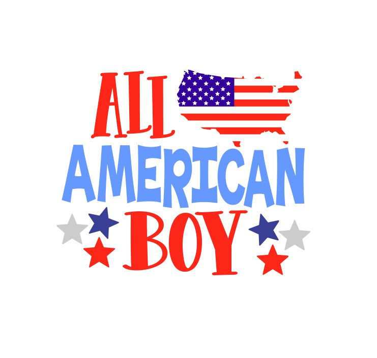 4th of July SVG, All American Boy, freedom svg, 4th of July shirt, patriotic cut file, svg file SVG, eps, dxf, png, jpeg example image 1