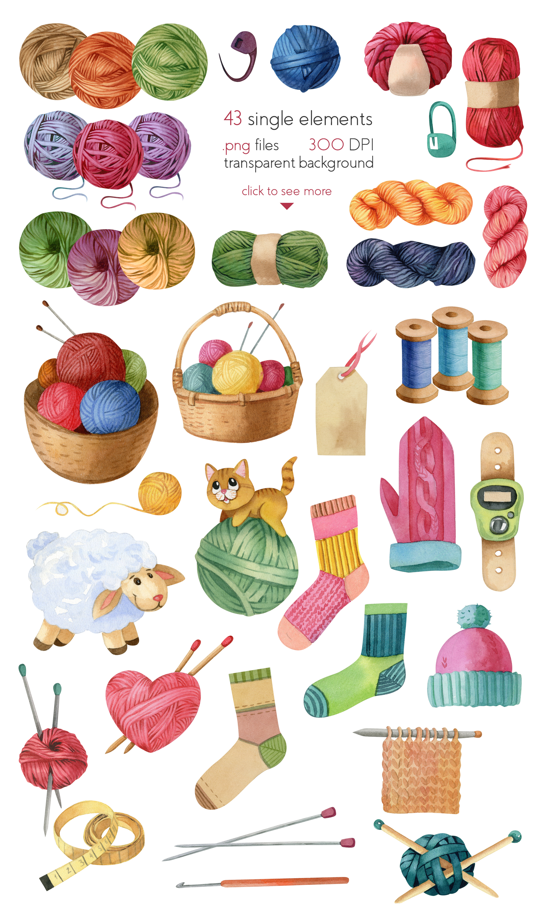 Watercolor Knitting and Crocheting Set example image 2