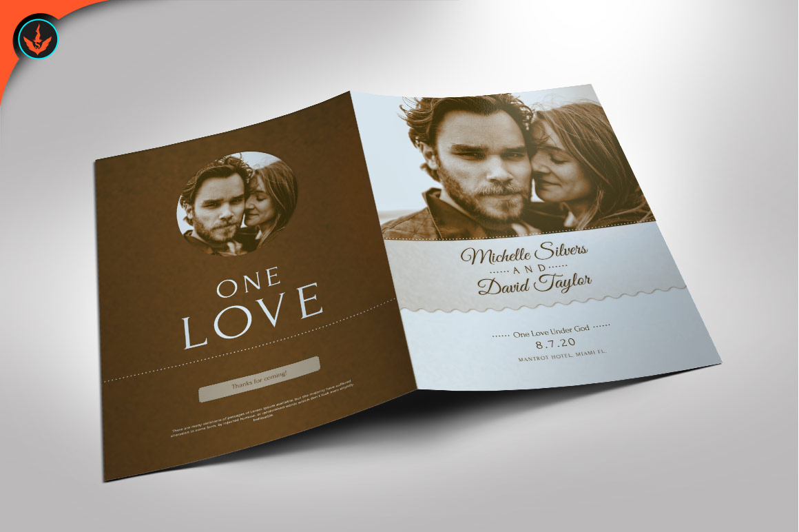 Retro Wedding Program Photoshop Template example image 1
