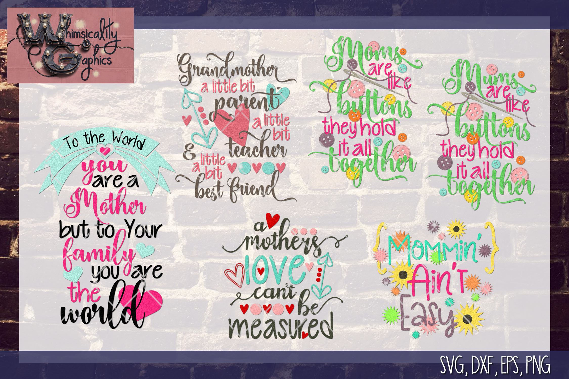 Mothers Day Bundle SVG, DXF, EPS, Png Comm & Pers example image 1