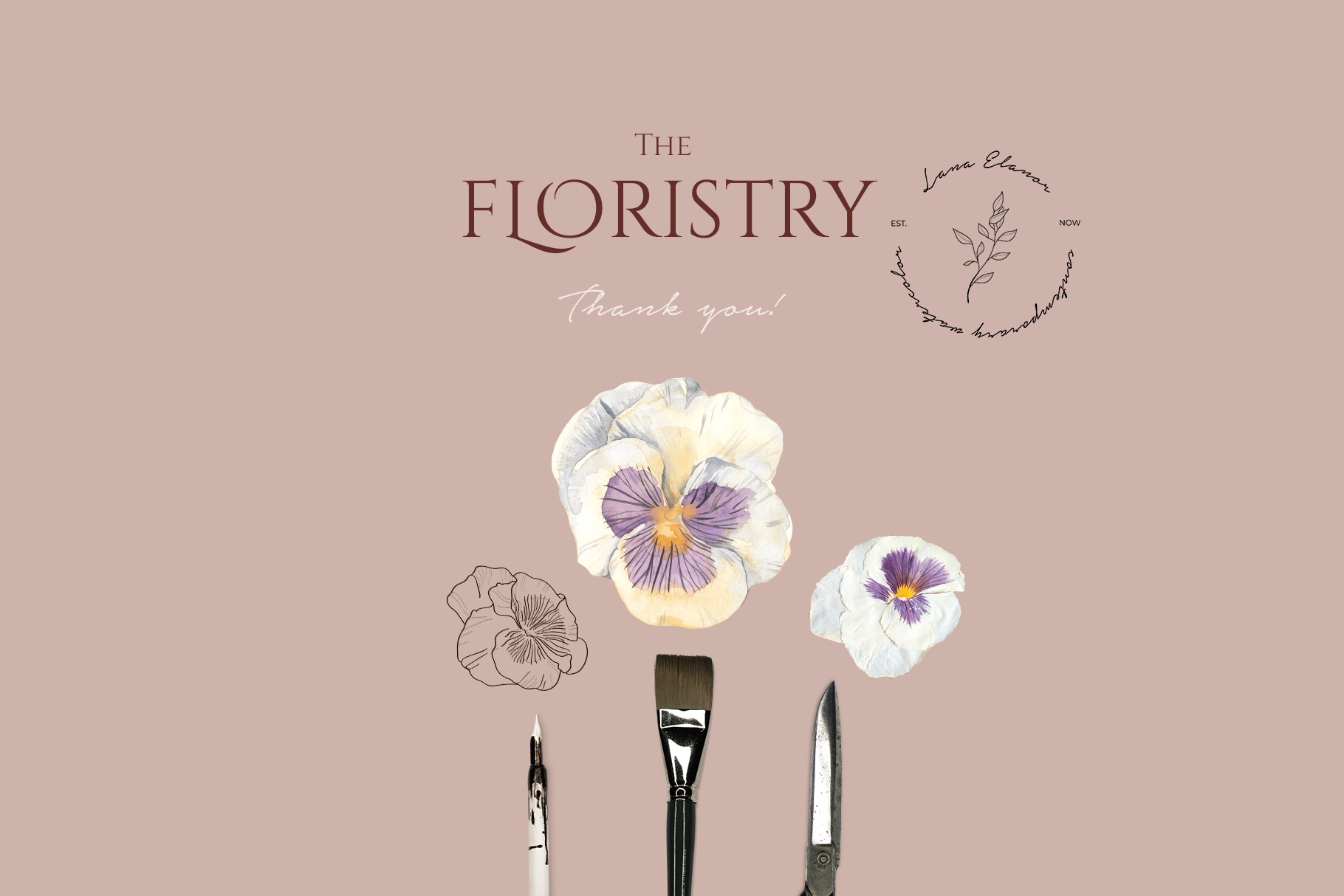 THE FLORISTRY floral collection - watercolor, line art, real example image 20