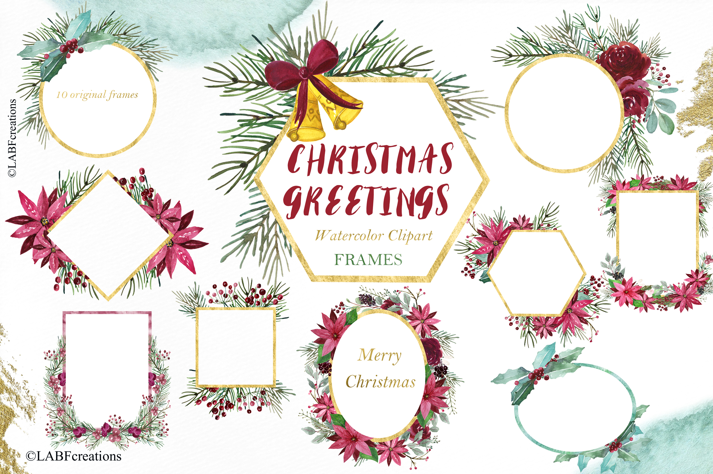 Christmas greetings. Hand drawn watercolor collection. example image 6