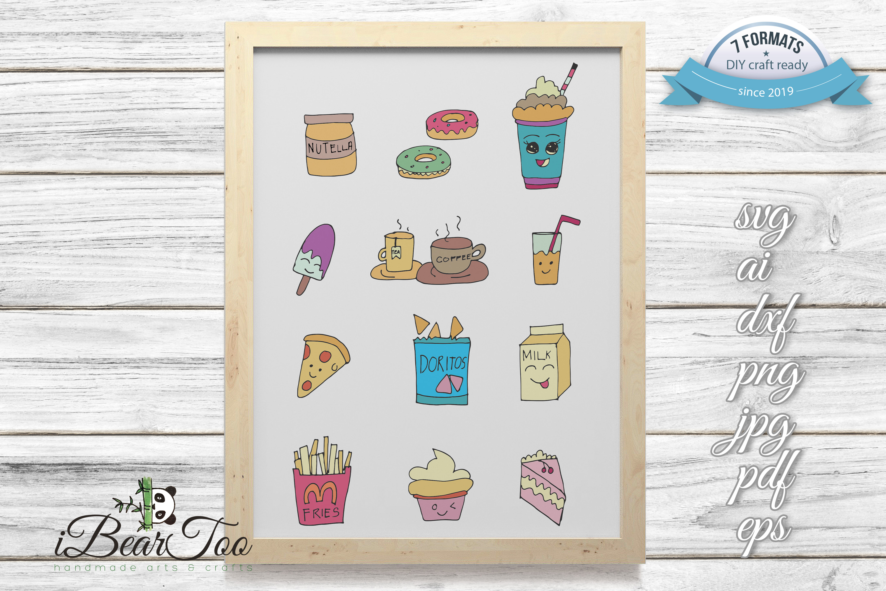 Food SVG Bundle Color Clipart Doodle Drawing Vector Cut File example image 1