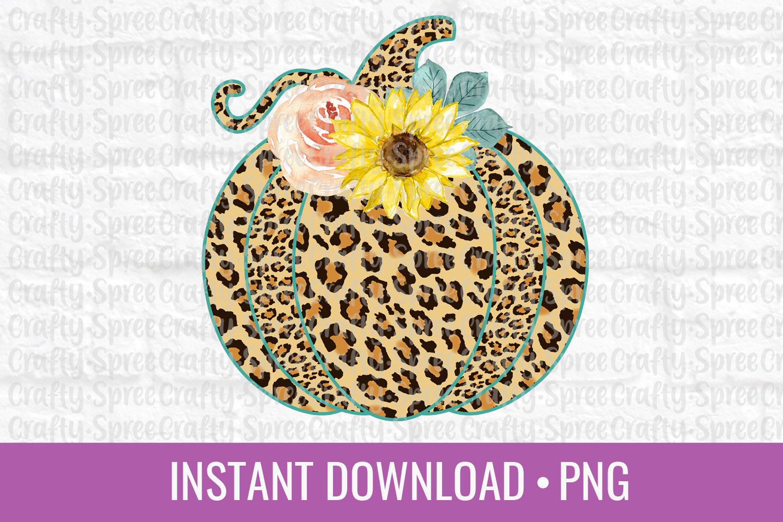 Pumpkin Leopard Print Floral PNG Sublimation DTG Design example image 1