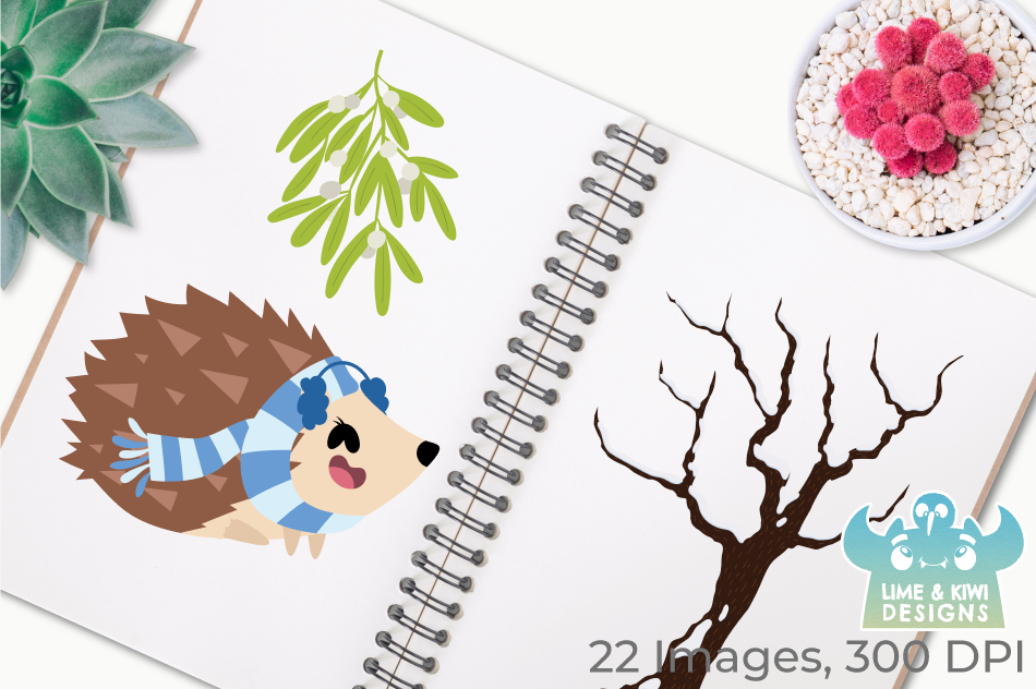 Christmas Hedgehogs Clipart, Instant Download Vector Art example image 3