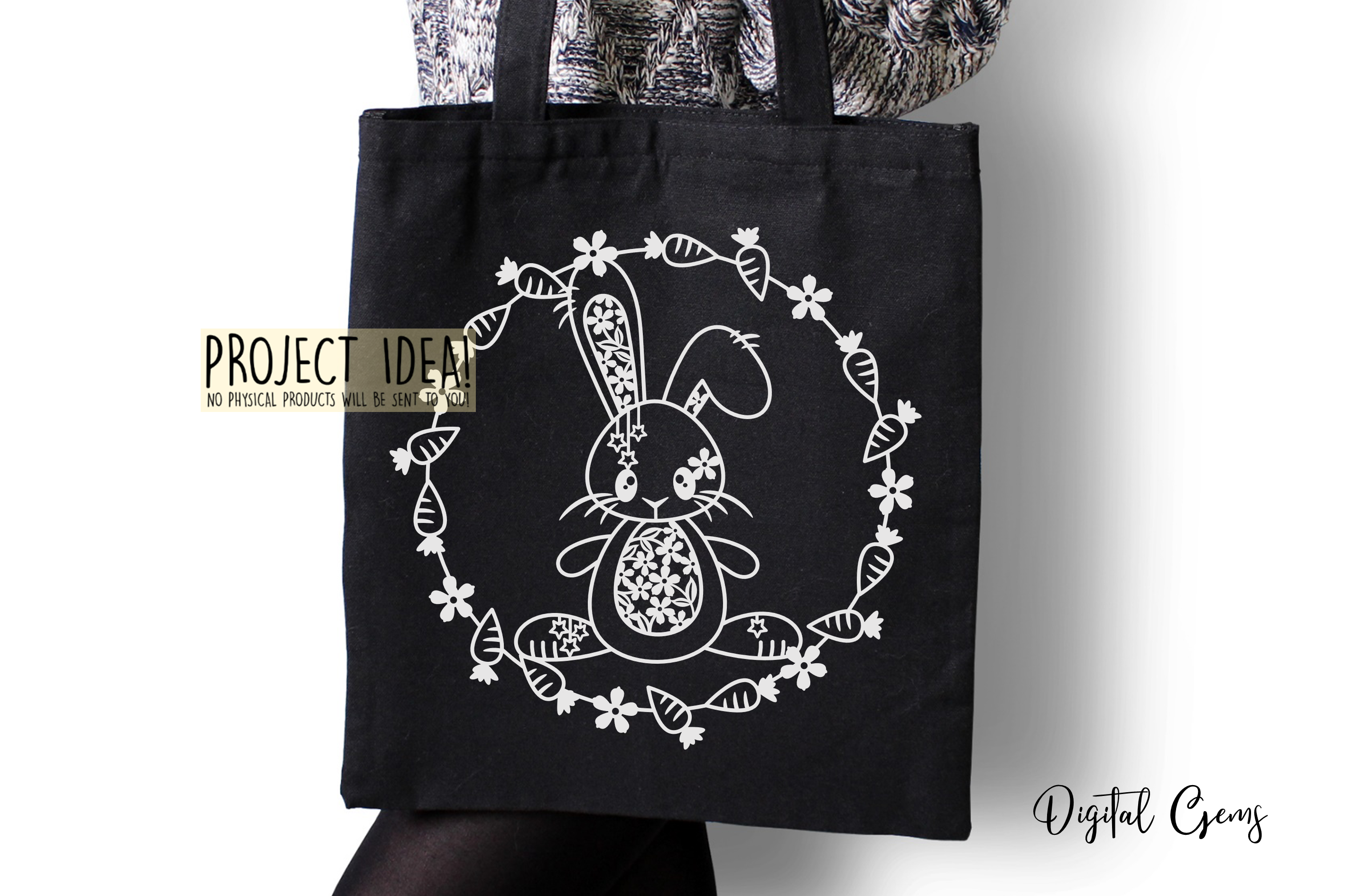 Rabbit paper cut design. SVG / DXF / EPS files example image 4