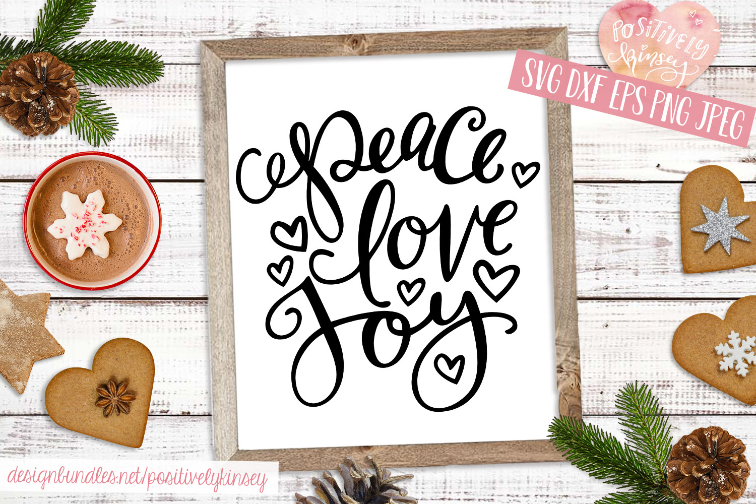 Christmas Quote SVG DXF PNG EPS Peace Love Joy SVG Design example image 3