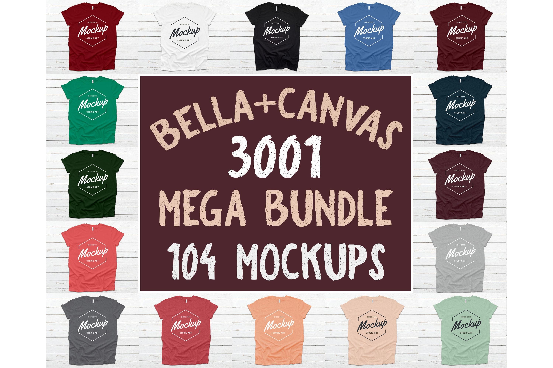 300 Mockups Bella Canvas 3001 Unisex Tshirt Flat Lay Mock Up example image 4