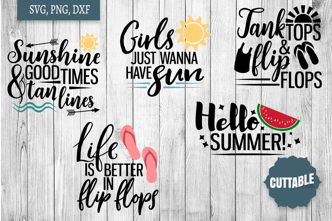 Summer SVG bundle, Summer quote cut files, Summer Cut files example image 3