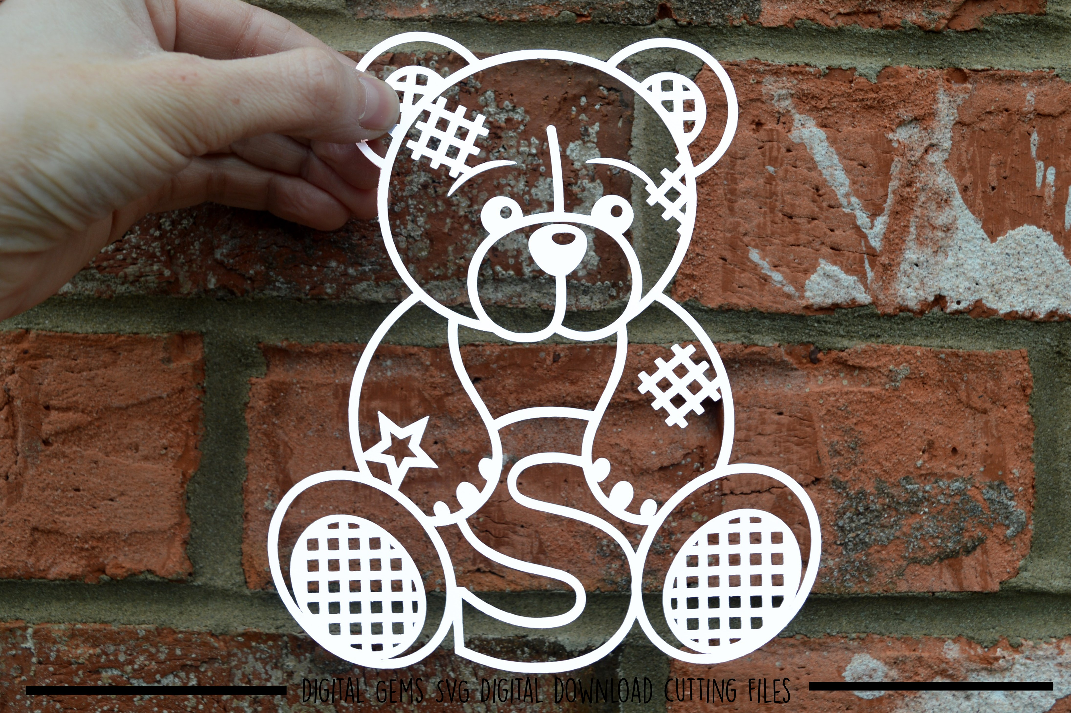 Alphabet teddy bear paper cuts SVG / DXF / EPS files example image 20