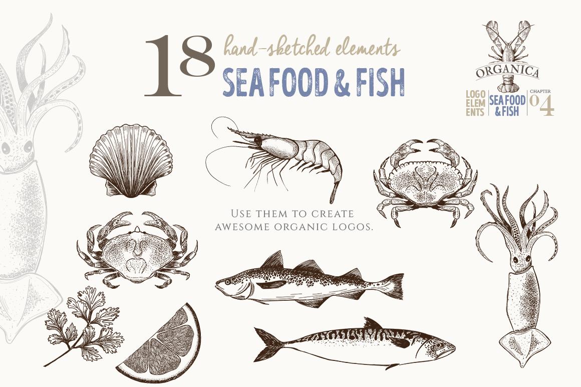 ORGANIC LOGO ELEMENTS SEA FOOD & FISH example image 2