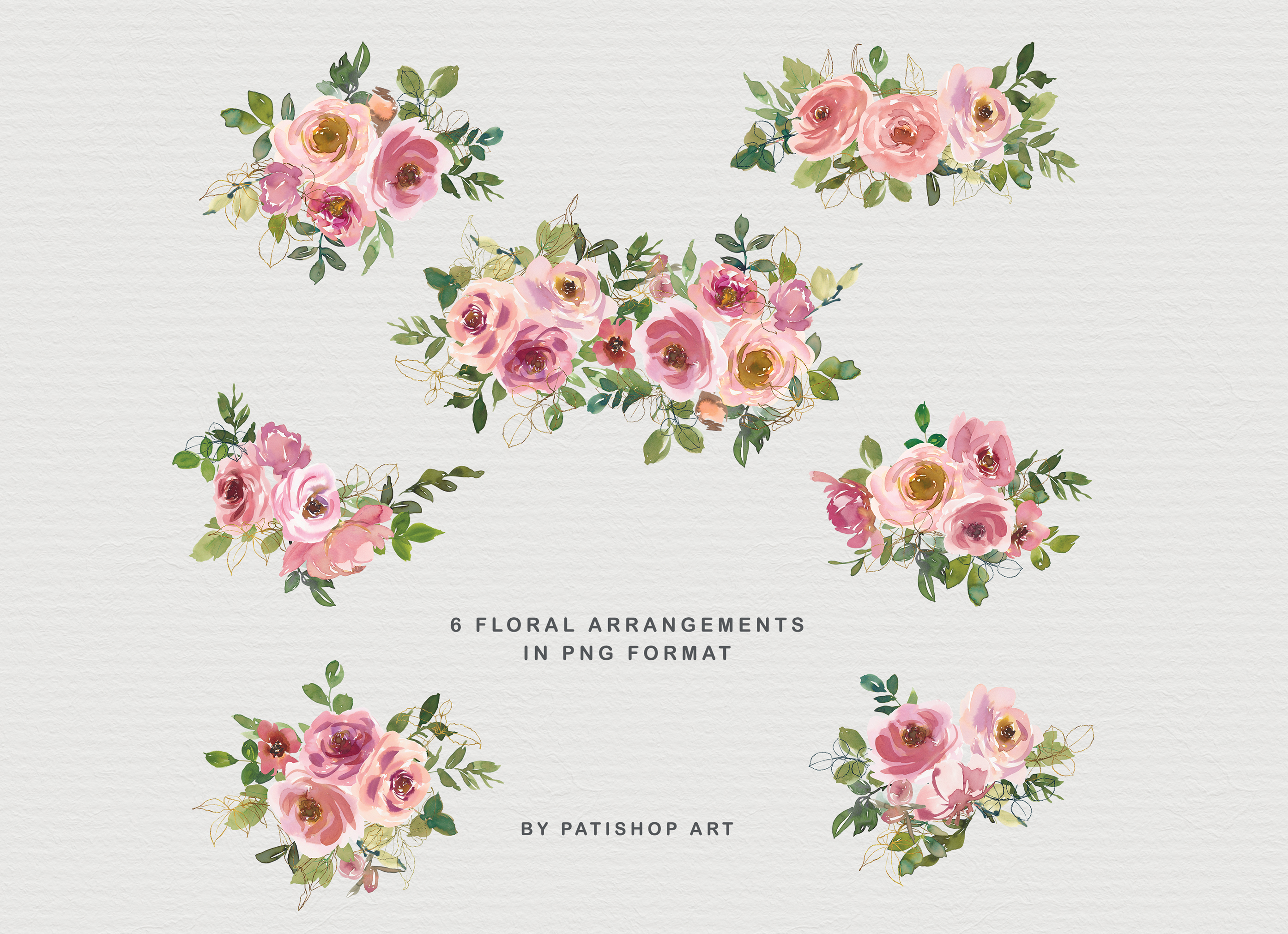 Blush and Peach Watercolor Floral Clipart Collection example image 6