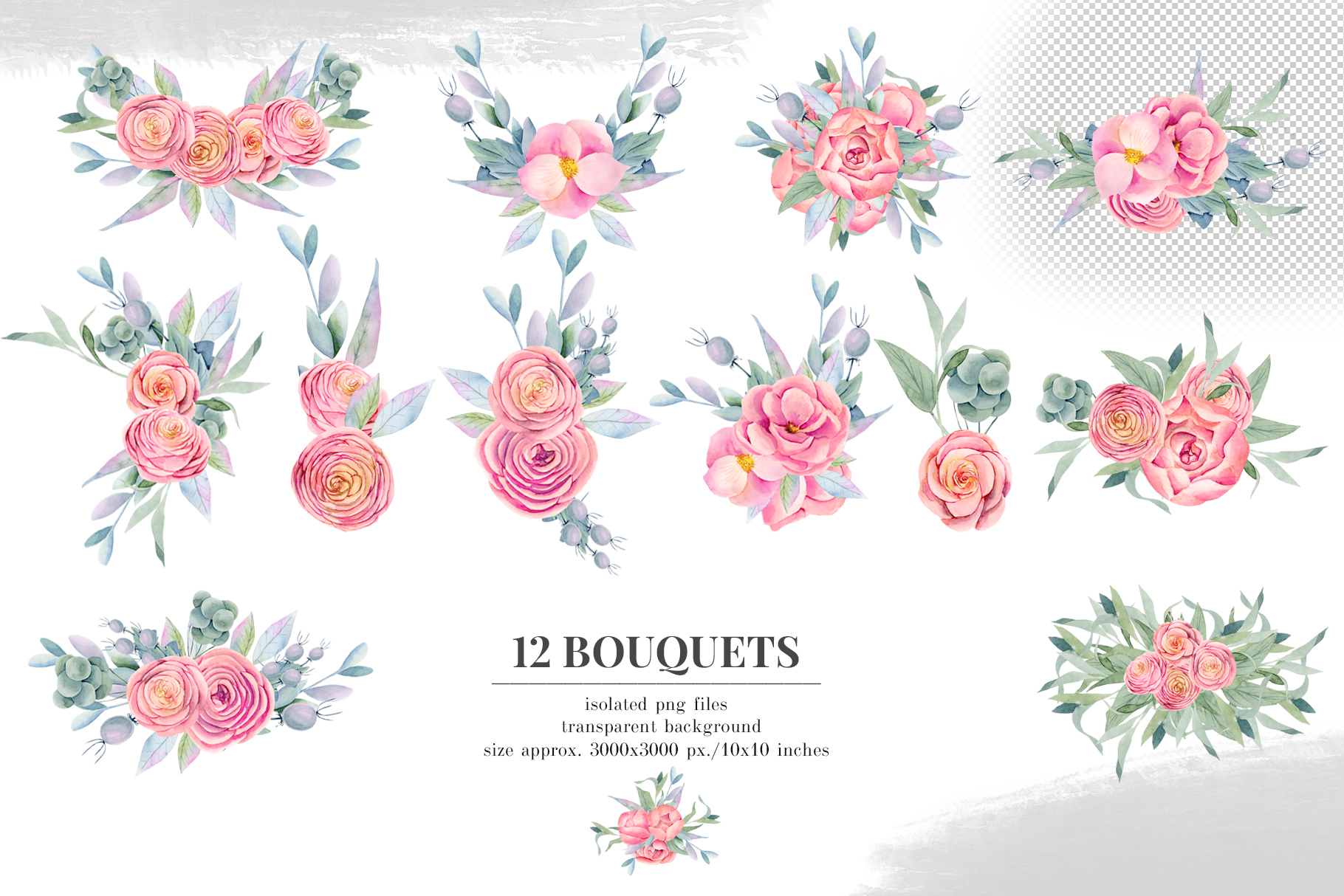 12 Bouquets, Floral boxes watercolor col. example image 2