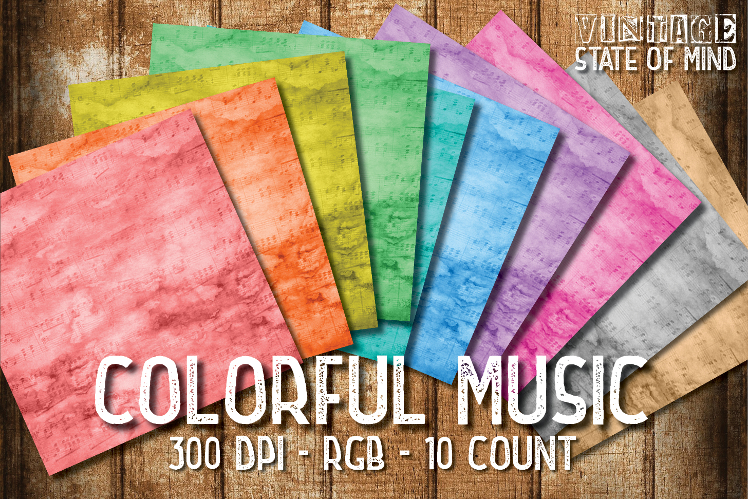 Colorful Music Digital Papers example image 2