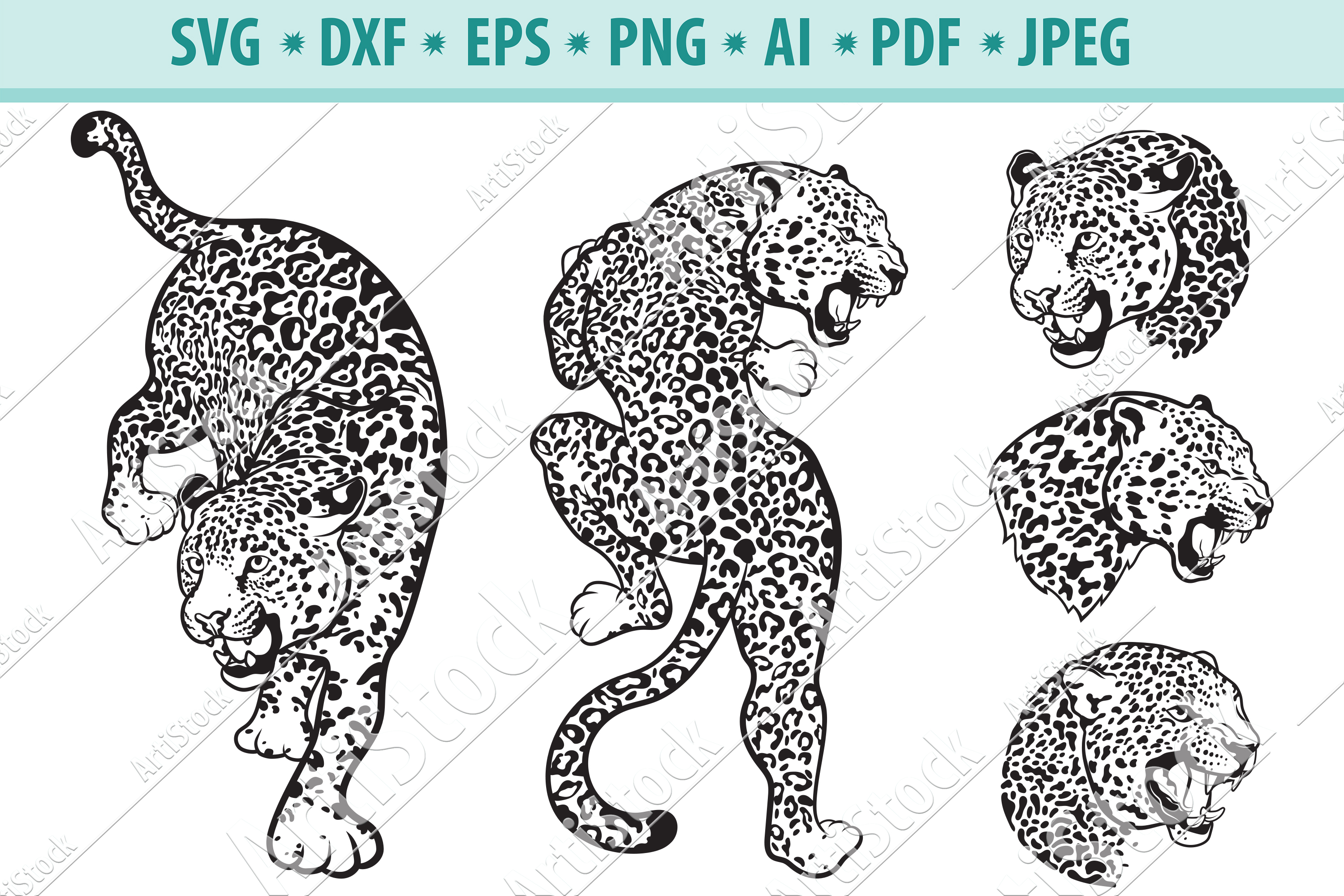 Leopard SVG, Wild cat Svg, Leopard Clipart, Dxf, Png, Eps example image 1