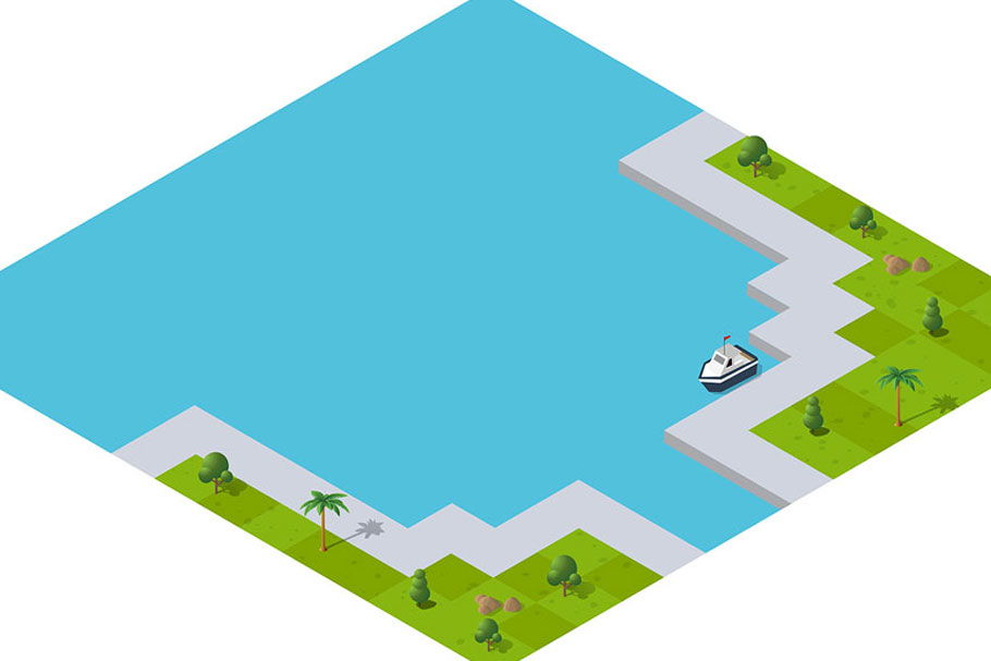 Isometric port cargo ship example image 7