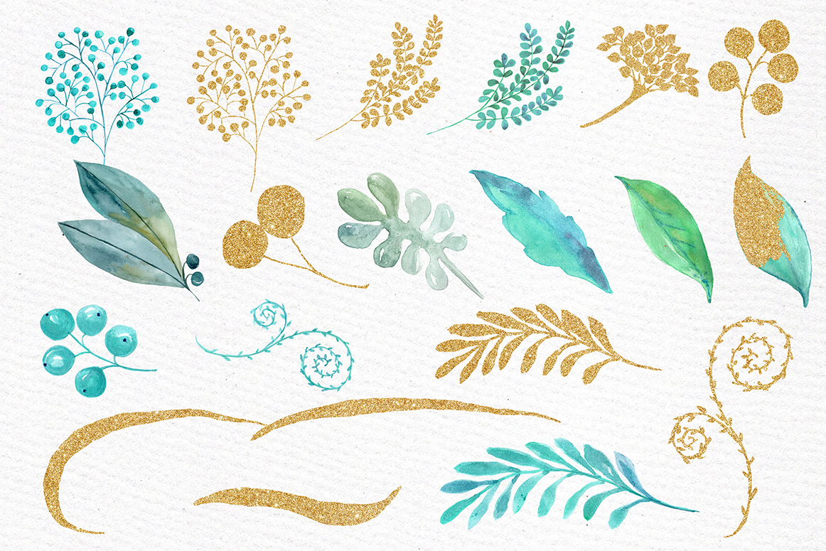 Gold Mint flowers clipart example image 3